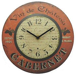 Relógio de Parede Rústico Vin De Chateau