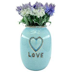 Vaso de Cerâmica Azul Love Médio