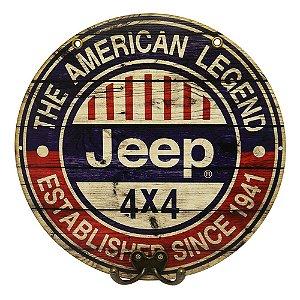 Placa Redonda Jeep 30 com Cabideiro