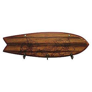Cabideiro de Parede Prancha de Surf Marrom
