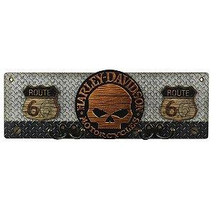 Cabideiro de Parede Harley Davidson Caveira de Madeira
