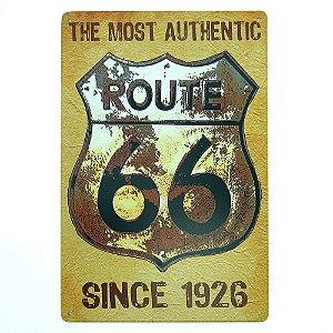Placa de Metal Vintage Route 66 Amarela