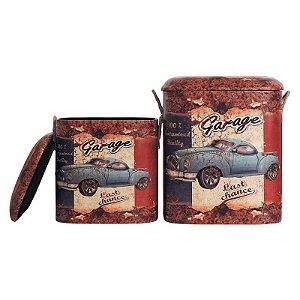 Jogo c/ 2 Banquetas Vintage Garage