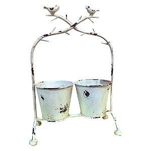 Decorativo com 2 Vasos de Metal