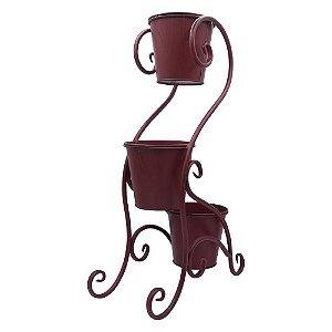 Vaso Vermelho Rústico Pedestal