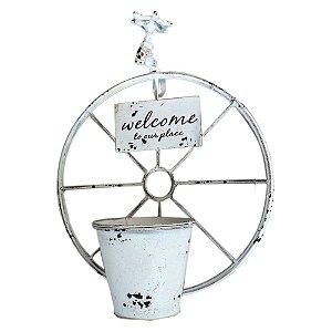 Vaso de Metal Branco Roda Torneira