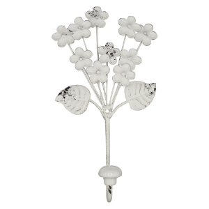 Cabideiro de Parede Flores Brancas