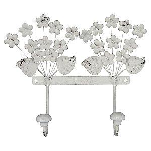 Cabideiro de Parede de Metal Flores Brancas