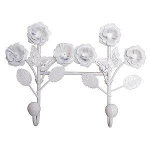 Cabideiro de Parede Branco Flores