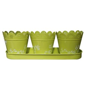 Jogo 3 Vasos de Metal Verde