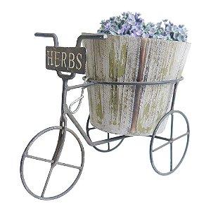 Vaso de Madeira Rústico Bicicleta Herbs