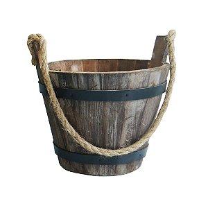 Vaso Balde de Madeira Médio 16cm