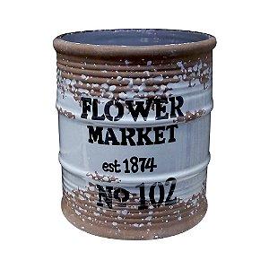 Vaso de Cerâmica Rústico Tonel Cinza