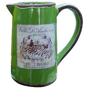 Vaso de Cerâmica Rústico Jarro Verde
