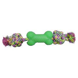 Brinquedo Osso de Borracha e Corda - Mister Zoo