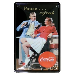 Placa Decorativa de Metal Coca Cola Refresh