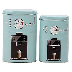 Jogo c/ 2 Latas de Metal Azul Coffee Express