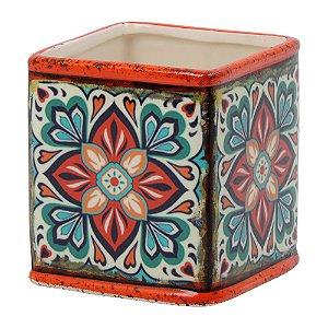 Vaso Quadrado de Cerâmica Mandala Laranja