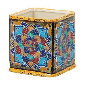 Vaso Quadrado de Cerâmica Mandala Amarelo