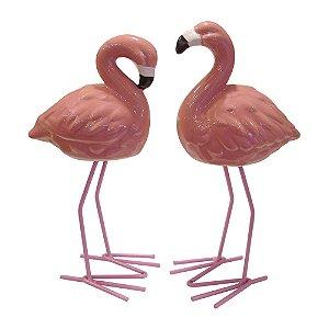 Jogo c/ 2 Flamingos Decorativos de Cerâmica