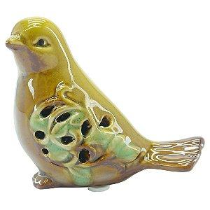 Passarinho Decorativo de Cerâmica Amarelo