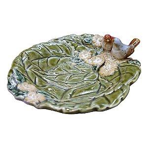 Porta Objeto de Cerâmica Folha e Passarinhos