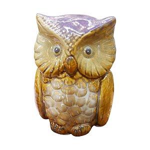 Mini Coruja Roxa em Cerâmica