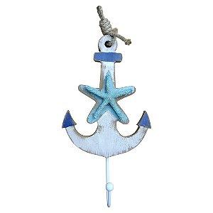 Cabideiro de Parede Madeira Âncora com Estrela