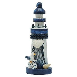 Farol de Madeira com Gaivotinha Azul e Branco