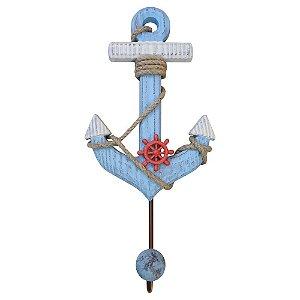 Cabideiro de Parede Madeira Âncora Azul
