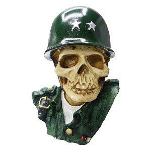 Decorativo Caveira Militar Exército de Resina