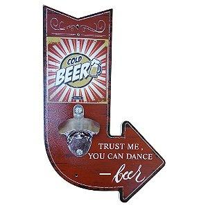 Abridor de Garrafa de Madeira Seta Cold Beer