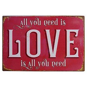 Placa de Cerâmica Love Vermelho