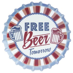 Tag de Cerâmica Tampinha Free Beer