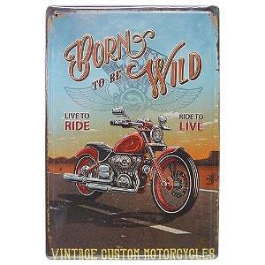 Placa de Metal Rústico Moto