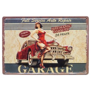 Placa de Metal Garage PinUp