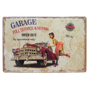 Placa de Metal Garage