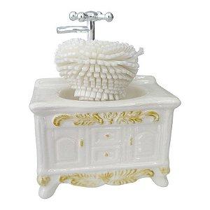 Saboneteira Pia Retro de Cerâmica Branco