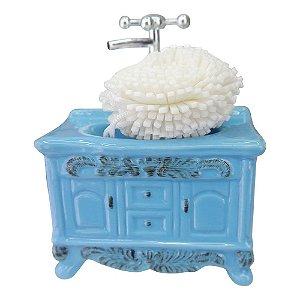 Saboneteira Pia Retro de Cerâmica Azul