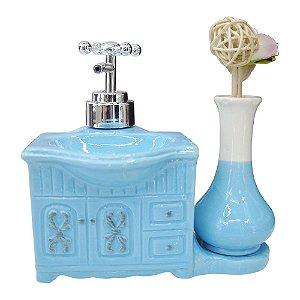 Saboneteira de Cerâmica c/ Porta Flor Azul