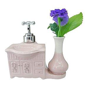 Saboneteira de Cerâmica c/ Porta Flor Rosa
