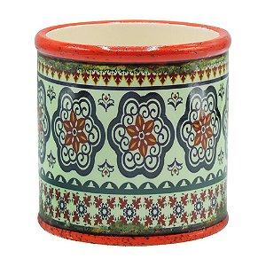 Vaso de Cerâmica Redondo Laranja