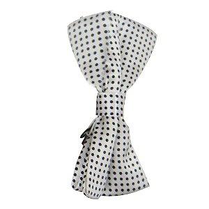 Gravata Borboleta Branca c/ Bolinha