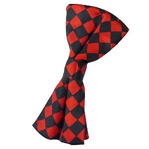 Gravata Borboleta Quadriculado Vermelho