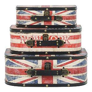 Jogo com 2 Malas Vintages Londres and NY