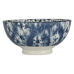 Bowl de Porcelana Florido com Quadriculado Interno