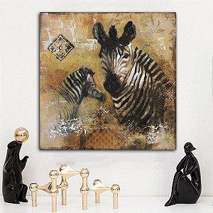 Quadro Canvas Marrom Zebra 60cm