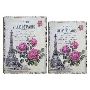 Jogo com 2 Porta Objetos estilo Livro Torre Eiffel