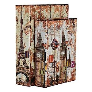 Jogo com 2 Porta Objetos estilo Livro London