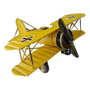 Decorativo Avião Pequeno Amarelo de Metal